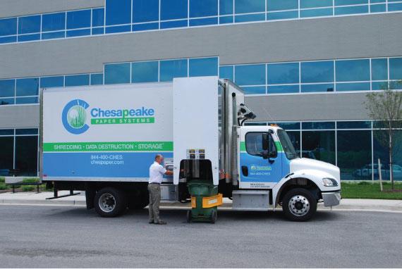 On-site paper shredding truck